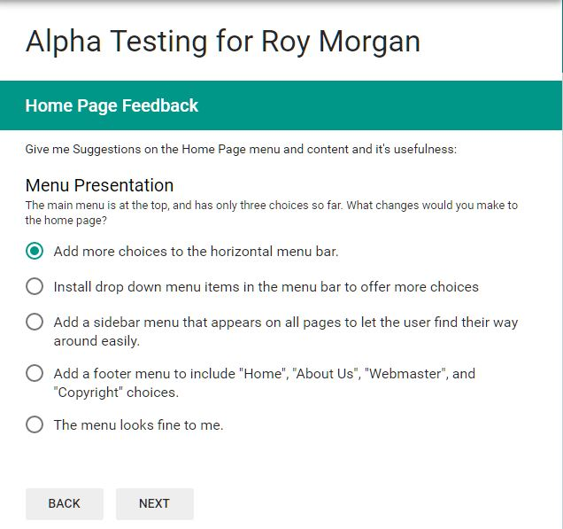 Sample Alpha Test Form: Newsletter